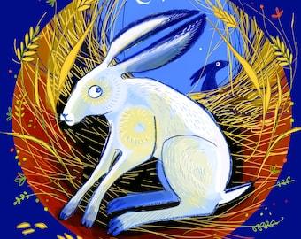 "Giclee print -  Autumn Hare 8 x 8"""