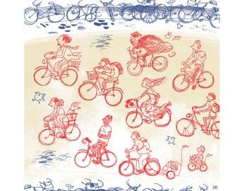 "GIclee print -  bicycles 7 x 9"""