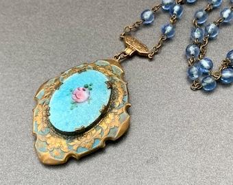 White Locket Necklace Guilloche Enamel White Guilloche Heart Locket on 14K Gold Filled Vintage Floral Locket Gift for Her