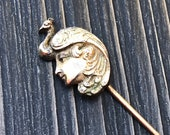 Antique Victorian Stick Pin Peacock Art Nouveau Lady Gold Filled Vintage Pin Hat Lapel Jewelry Gift for Her