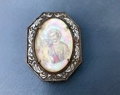Vintage Silver Rosary Reliquary Box Tiny Wood Bead Rosary Saint Joseph JHS 1930s Religious Catholic Gift