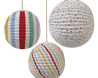 Set of 3 Paper Globe Spots and Stripes Party Decorations