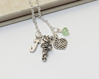 Personalized Olympic Torch Necklace with Your Initial and Birthstone