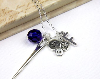 Personalized Sewing Necklace with Your Initial and Birthstone