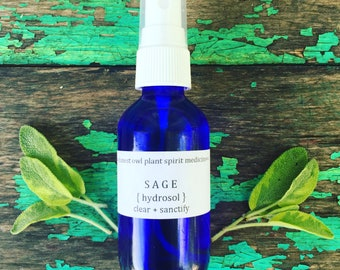 Sage Hydrosol - Steam Distilled Floral Water - Clear + Sanctify