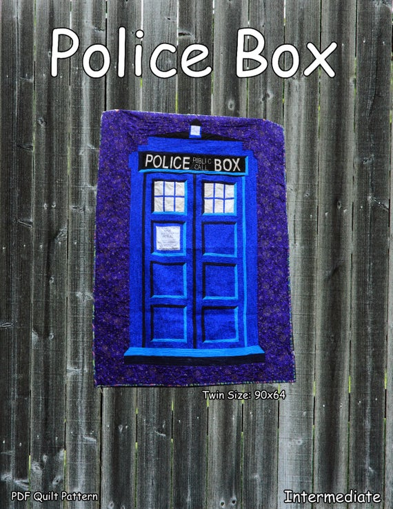 Police Box Twin Sized Quilt Pattern Tardis Etsy