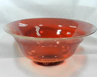 Handblown red glass bowl