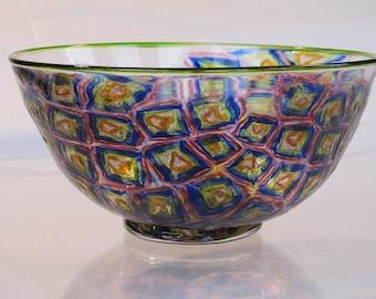 Hand blown glass bowl of multicolored murrini with light green lip