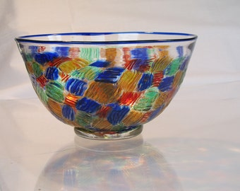 Hand blown glass bowl of mitochondrial murrini and a cobalt lip