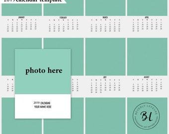2019, 8x10 calendar, calendar template, photography, art, digital file