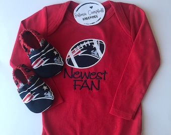 New England Patriots Inspired shirt or bodysuit  and Matching Booties