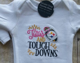 Pittsburg Steelers Tutus and Touchdowns bodysuit or shirt