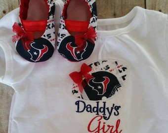 Houston Texans Inspired Daddys Girl Shirt and Matching MaryJanes