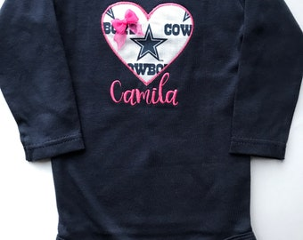 a5457dff5 Dallas Cowboys Inspired Girl Shirt with Embroidered name.