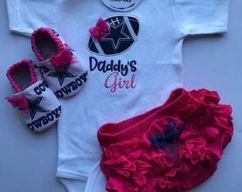 c910c096 Dallas Cowboys Daddy's Girl Shirt, Matching Booties and Ruffle Diaper Cover