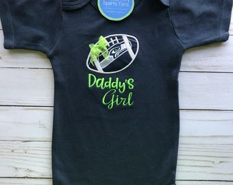 2d6bb3491 Seattle Seahawks Daddy s Girl Baby Shirt or Bodysuit