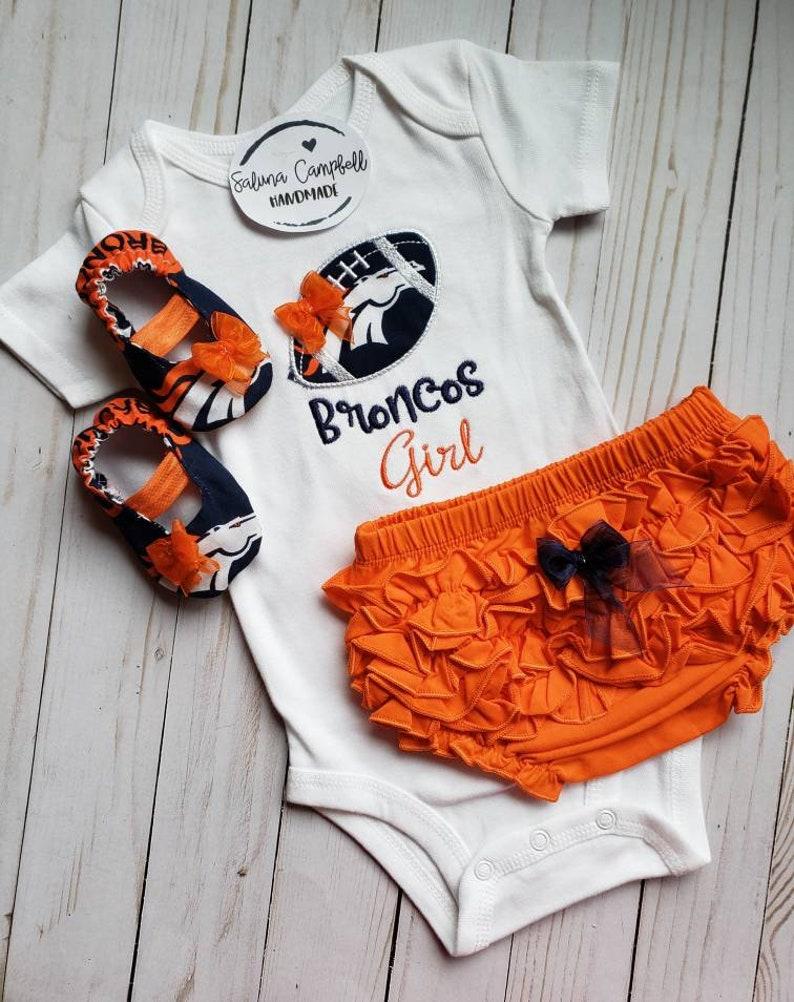 e7785cb4 Denver Broncos Girl Shirt, diaper cover and Matching Booties