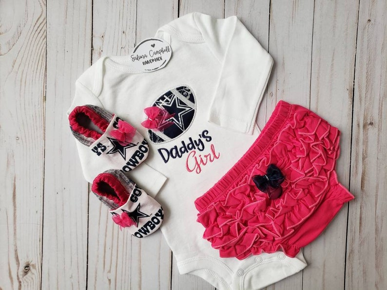 399554cf Dallas Cowboys Daddy's Girl Shirt, Matching Booties and Ruffle Diaper Cover