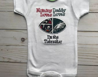 football house divided baby bodysuit Buccaneers and Eagles Free shipping US only 0-3 months