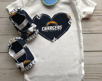 San Diego Chargers Heart Shirt and booties