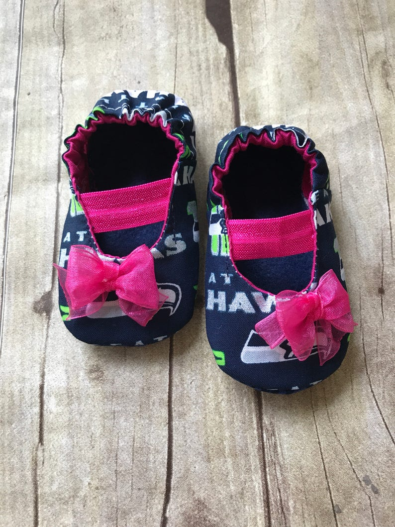 5938956aca5cf Seattle Seahawks Inspired Pink Baby Mary Jane Shoes