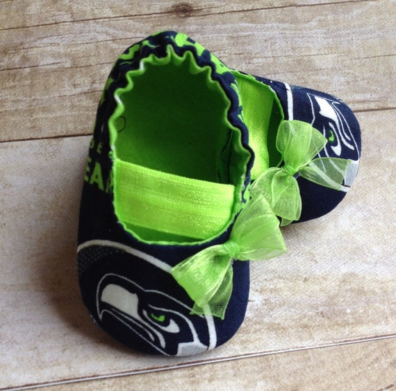 07ed2c55f809d Seattle Seahawks Inspired Green Baby Mary Jane Shoes with Bow