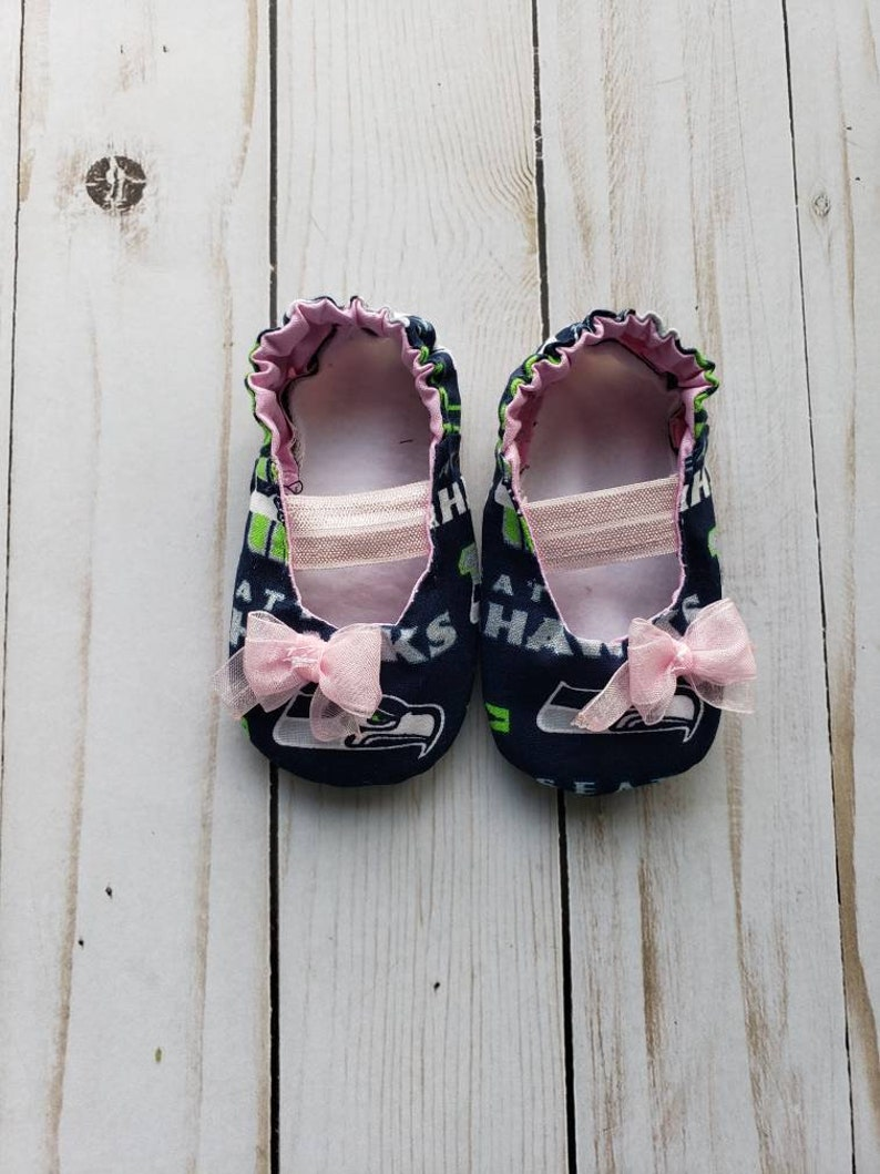 d7663749e62b0 Seattle Seahawks Inspired Pink Baby Mary Jane Shoes with Bow