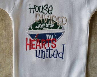 House Divided Hearts United Football Shirt or bodysuit