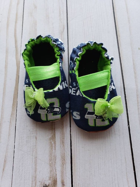 0363a3e209e86 Seattle Seahawks Inspired Baby Mary Jane Shoes with Bow