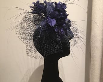 Navy sinamay percher vintage 1940's style with veiling, flowers and pearls