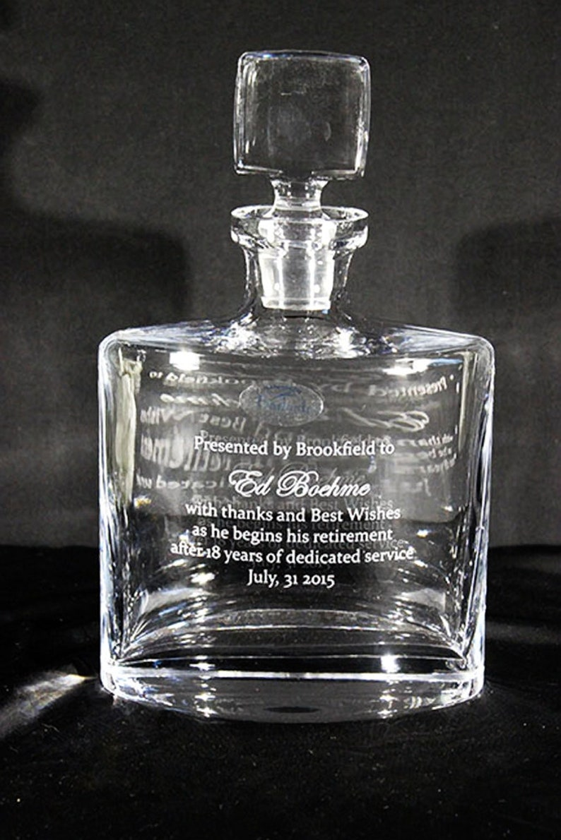 Personalized Decanter makes a perfect Engraved Decanter or Cocktail Decanter Pair it with 2 or 4 Personalized Glasses.
