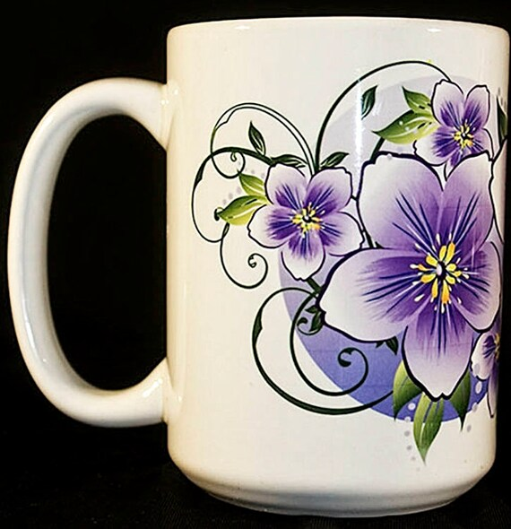 Set Of 2 Coffee Mugs Ceramic Coffee Mug Violet Flower Coffee Cup Colorful Ceramic Mugs Decorative Coffee Cup Gifts For Women Gifts For Her