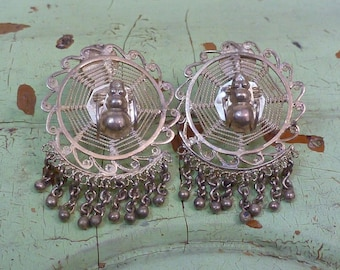 SPIDER ON a WEB  Mexican sterling Taxco vintage earrings