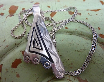 SIGNED JS Native American sterling charm and chain Sundance Style Necklace