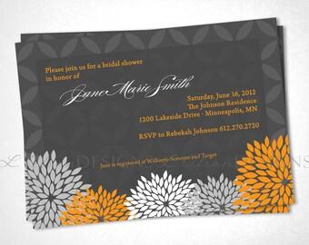 Flowers Elegant Shower Invitation - Orange - DIY Printable