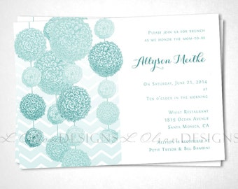 Pom Pom Baby Shower or Event Invitation - Turquoise - DIY Printable