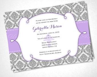 Damask Ribbon Baby Shower Invitation - Purple - DIY Printable