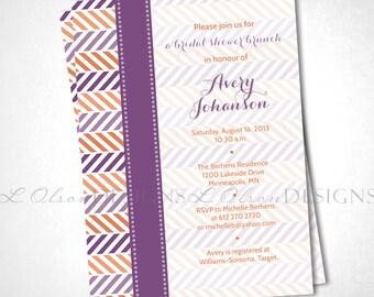 Alternating Chevron Shower Invitation -  Purple & Orange - DIY Printable