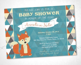 Fox and Triangles Baby Shower or Event Invitation - Turquoise - DIY Printable