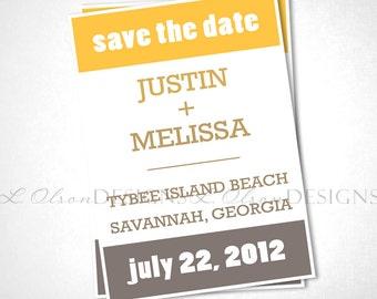 Pantone-inspired Save The Date - Mustard-Gray - DIY Printable