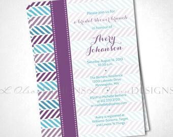 Alternating Chevron Shower Invitation - Purple & Teal - DIY Printable