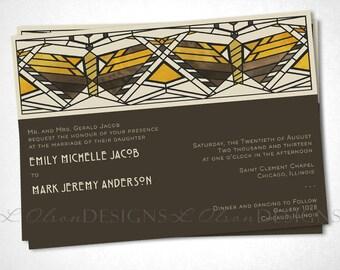 Arts and Crafts / Craftsman Wedding Invite - Butterflies - Digital Printable