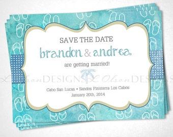 Flip Flops Save the Date Destination Wedding - Turquoise - DIY Printable