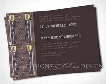 Arts and Crafts / Craftsman Wedding Invitation - Brown - DIY Printable