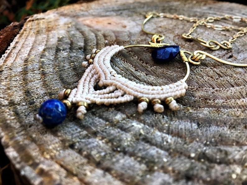 Egyptian Jewel Boho Wife Gift Gemstone Amulet Festival Macrame Talisman Elven Necklace Lapis Gift For Her Healing Necklace