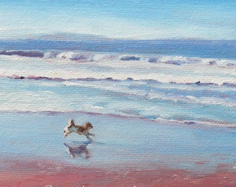 5x7 Small custom oil canvas painting from photos, Original landscape beach cottage commissioned wall art, Hand painted artwork by Janet Zeh