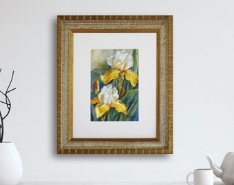 Original framed Iris watercolor painting, 11x13 inch yellow white green floral wall art, Flower decor in solid wood frame by Janet Zeh