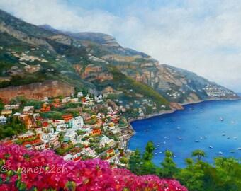 Custom Positano Italy oil painting from photo, Large original landscape canvas art, Engagement or wedding, Amalfi Coast artwork by Janet Zeh