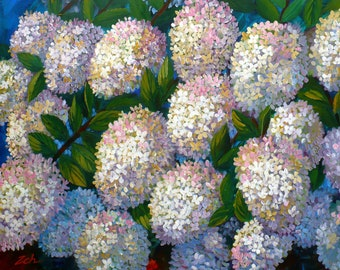 30x48 Original PeeGee hydrangeas art, Acrylic on canvas large flower painting, Garden wall decor, Colorful hand painted artwork by Janet Zeh