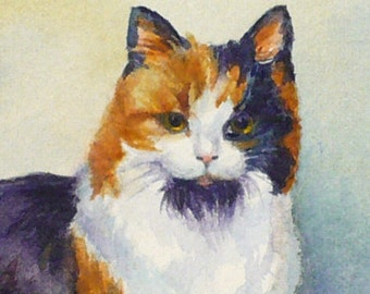 5x7 Custom Cat Watercolor Portrait on Paper, One Two or Three Pets, Gift for Cat Owner by Janet Zeh